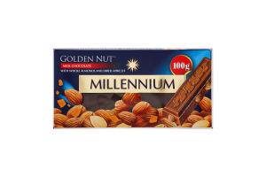 Шоколад молочний з цілим мигдалем та курагою Golden Nut Millennium к/у 100г
