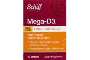 Schiff Mega-D3 Dietary Supplement Softgels - 90 CT