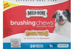 Milk-Bone Brushing Chews Daily Dental Dog Treats Sm/Med - 26 CT