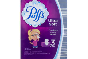 Puffs Ultra Soft & Strong Tissue Boxes - 3 CT