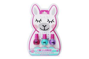 Набір іграшковий з трьох голографічних лаків для нігтів для дітей від 8років №MR43278 Лама Make it Real 1шт