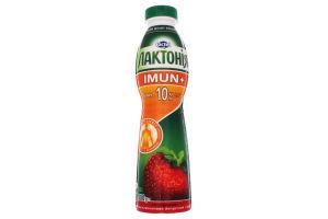 """Напиток кисломолочный йогуртный """"Закваска"""" з наповнювачем полуниця, обогащенный пробиотиком L.Rhamnosus и витамином С, 1,5% жирности, «Лактонія» «Імун+"""