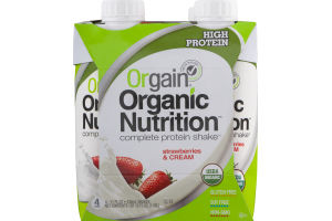 Orgain Organic Nutrition Complete Protein Shake Strawberries & Cream - 4 PK