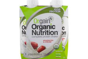 Orgain Organic Nutrition Complete Protein Shake Strawberries & Cream - 4 PK