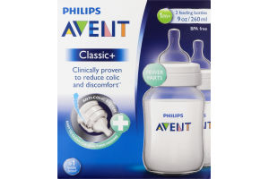 Philips Avent Classic+ Feeding Bottles 1m+ - 2 CT