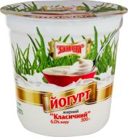 Йогурт 6% Классический Злагода ст 300г