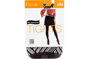 No Nonsence Fashion Tights Black Text Basketweave Shear to Waist S/M - 1 Pair