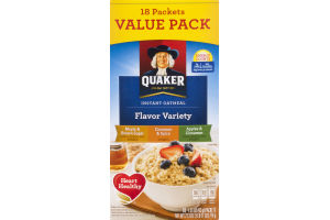 Quaker Instant Oatmeal Flavor Variety Value Pack - 18 CT