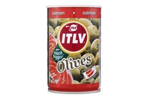 Оливки зелені фаршировані лососем ITLV з/б 300г