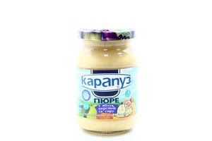 Пюре для детей от 4мес из яблок, персиков и творога Карапуз с/б 200г