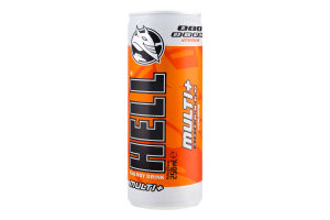 Напиток энергетический безалкогольный среднегазированный Multi+ Hell ж/б 250мл