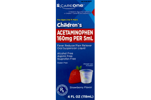 CareOne Children's Acetaminophen Fever Reducer/Pain Reliever Oral Suspension Liquid Strawberry