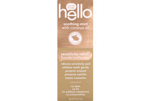 Hello Sensitivity Relief Toothpaste Soothing Mint with Coconut Oil
