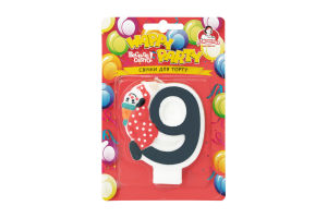 Свічка-цифра для торту з клоуном №9 Happy Party Помічниця 1шт