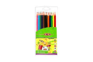 Олівці ZiBi кольорові 12 кольорів Protect ПВХ пенал арт.ZB.2437