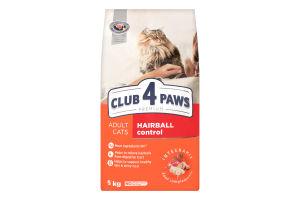 Корм сухой для взрослых котов Premium Hairball control Club 4 Paws м/у 5кг