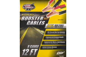 Road Power Medium-Duty Booster Cables 8 Gauge/12 FT