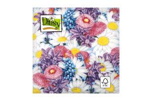 Салфетки Daisy с рисунком бумажная 3-слойная D-23