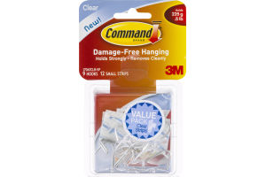 Command Brand Clear Hooks Holds .5 LB - 9 CT