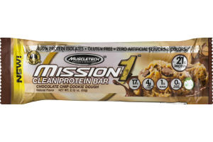 MuscleTech Mission 1 Clean Protein Bar Chocolate Chip Cookie Dough