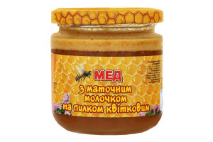 Мед с маточным молочком и пыльцой цветочной Медова скарбниця с/б 230г