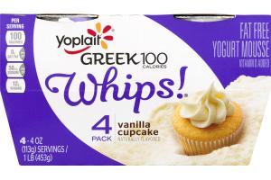 Yoplait Whips! Greek 100 Fat Free Yogurt Mousse Vanilla Cupcake - 4 CT