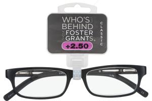 Foster Grants Non-Prescription Glasses Classic +2.50 Brandon BLK