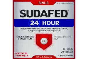 Sudafed 24 Hour Sinus Maximum Strength Non-Drowsy Tablets - 10 CT