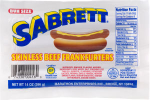 Sabrett Skinless Beef Frankfurters Bun Size - 8 CT
