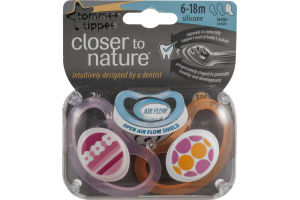 Tommee Tippee Closer to Nature Silicone Pacifier 6-18M Large - 2 CT