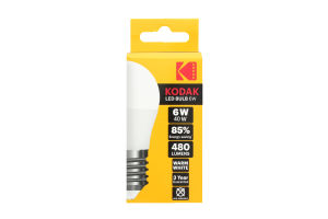 Лампа KODAK G45 E27 6W 220V Нейт.Біл. 4100K Мат. н/Дим.