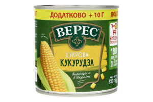 Кукурудза цукрова консервована Верес з/б 350г