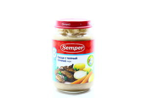 Пюре для детей от 8мес Овощи с телячьей печенью Semper с/б 190г