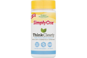 Super Nutrition SimplyOne Think Clearly Triple Power Brain Support Dietary Supplement Tablets - 30 CT