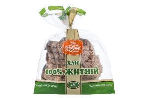 Хліб половинка в нарізці 100% житній Рум'янець м/у 450г