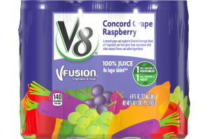 V8 V-Fusion 100% Juice Concord Grape Raspberry - 6 CT
