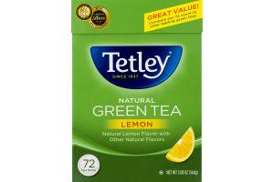 Tetley Natural Green Tea With Lemon Tea Bags - 72 CT