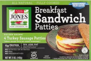 Jones Dairy Farm Breakfast Sandwich Patties Turkey Sausage - 4 CT