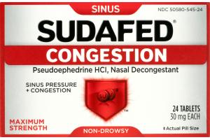 Sudafed Sinus Congestion Maximum Strength - 24 CT