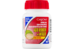 CareOne Dual Action Acid Reducer + Antacid Tablets Cool Mint Flavor - 25 CT