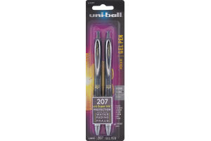 Uni-Ball 207 Gel Pen Micro 0.5mm Black - 2 CT