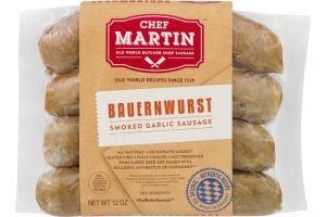 Chef Martin Old World Butcher Shop Sausage Bauernwurst Smoked Garlic Sausage - 4 CT