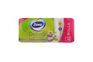 Туалетний папір 3-х шаровий Ромашка Deluxe Zewa 16шт