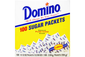 Domino Pure Cane Sugar Packets - 100 CT