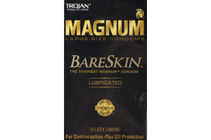 Trojan Magnum BareSkin Large Size Lubricated Latex Condoms - 10 CT