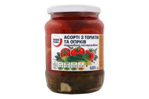 Ассорти Повна Чаша из огурцов та томатов маринован