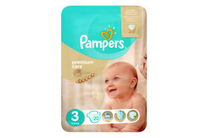 Підгузники 6-10кг 3 Premium Care Pampers 20шт
