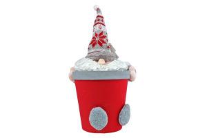 Украшение декор Дед Мороз коробка кругл 25см Y*1