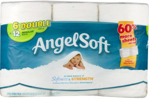 Angel Soft Bathroom Tissue Double Rolls - 6 CT