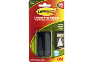 Command Damage-Free Medium Picture & Frame Hanging Strips - 4 CT